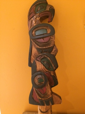 Raven Eagle Talking Stick carved by George Matllpi